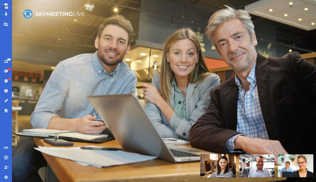 Interfaccia SkyMeeting Live, 6 persone in videoconferenza